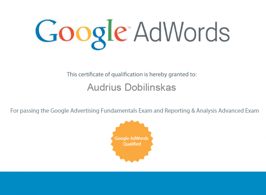 Google AdWords Advanced Reporting & Analysis - Certified - OnlineAds.lt